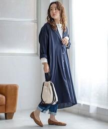 棉縲縈長袖襯衫連身裙※此商品實際的產地為孟加拉國製造