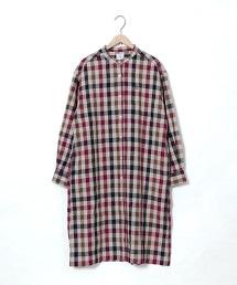 冬季亞麻襯衫式洋裝