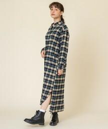德州棉格紋法蘭絨襯衫連身裙