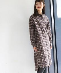 起毛格紋襯衫式洋裝