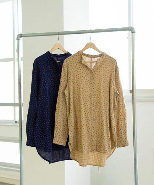 雙層棉紗 印花束腰罩衫 OUTLET商品