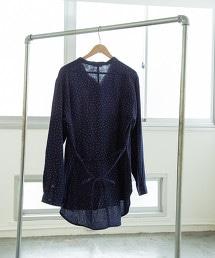 雙層棉紗 印花束腰罩衫