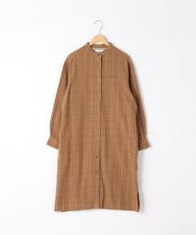 印度棉 法蘭絨格紋襯衫 洋裝