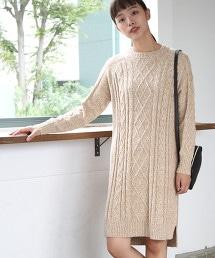 【可手洗】棉質混紡麻花連身裙