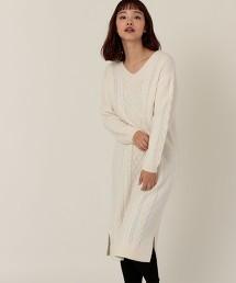 棉混紡麻花連身裙