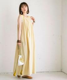 2WAY亞麻混紡斜紋布洋裝