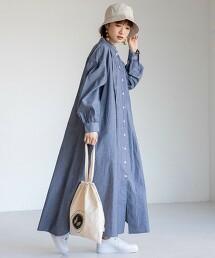 USA美國棉 超長版 抽褶 襯衫式洋裝