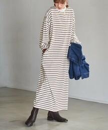橫條紋 立領洋裝
