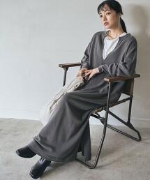 染料裏毛厚棉連身裙