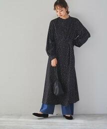 綾織圓點印花連身裙