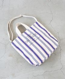 帆布直條紋LOGO托特包
