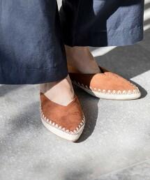 V形裁切裸跟鞋