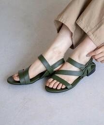 斜綁帶蝴蝶結平底涼鞋