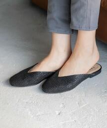 NEW V形切割 平底裸跟鞋
