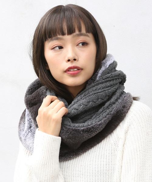 針織拼接圍巾(灰色)