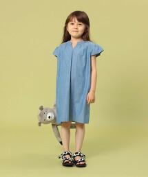 【coen KIDS/JUNIOR】粗藍布蓋袖洋裝