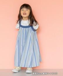 【coen KIDS/JUNIOR】直條紋 摺線 無袖連身洋裝