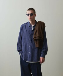 <Steven Alan> 40/1 NEL CHECK REGULAR COLLAR SHIRT-LOOSE/襯衫