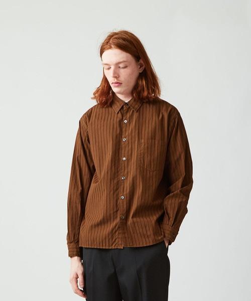 <Steven Alan> G/DYE MULTI/STRIPE REGULAR COLLAR SHIRT-BOLD/襯衫