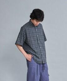 <Steven Alan> RETRO/CHECK REGULAR COLLAR SHORT SLEEVE SHIRT-LOOSE/襯衫 日本製