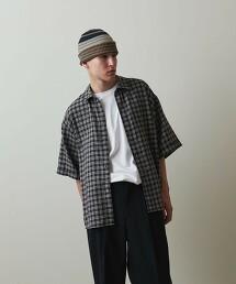 <Steven Alan> DRY/NEL WORKN REGULAR COLLAR SHORT SLEEVE SHIRT 日本製