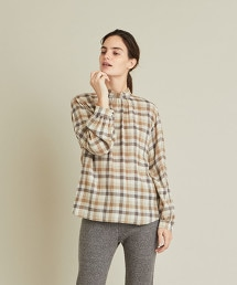 <Steven Alan>BLOCK CHECK HIGH NECK BLOUSE/罩衫 OUTLET商品