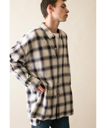 <monkey time> OMBRE CHECK LONG SHIRT/長版襯衫