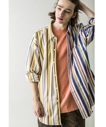 <monkey time> MULTI STRIPE PANEL OVERSIZED REG/襯衫