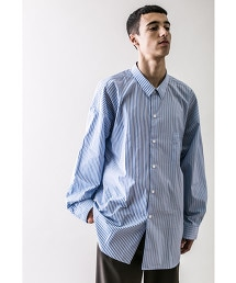 <monkey time> BLUE STRIPE PANEL OVER SIZED REG/シャツ