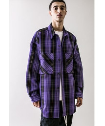 <monkey time> HEAVY CHECK TWILL OVER SIZED CPO/寬版剪裁襯衫