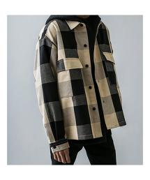 <monkey time> BLOCK CHECK CROPPED CPO/襯衫