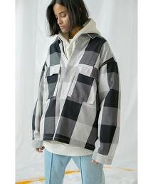 <monkey time> BLOCK CHECK CROPPED CPO/方塊格襯衫式外套