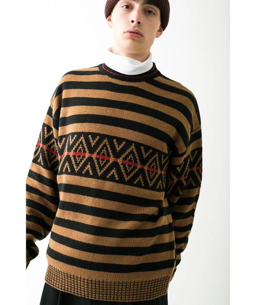 <monkey time> JACQUARD BORDER CN/針織毛衣