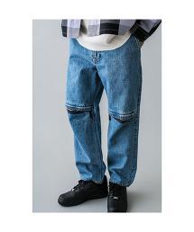 <monkey time> DENIM KNEE ZIP PANTS/牛仔褲