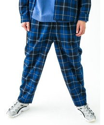 <monkey time>  NAVY CHECK WIDE 1P PANTS