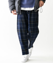 <monkey time> TW NAVY TARTAN WIDE 1P EASY/輕便褲