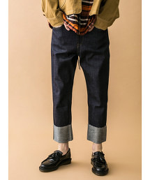 <monkey time> SELVAGE DENIM ROLL UP STRAIGHT/牛仔褲