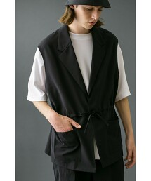 <monkey time> PE TRO BUTTON LESS LAPEL VEST/背心