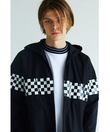 <monkey time> TC/WTHR CHECK PANEL ZIP HOODY/拉鏈連帽外套 OUTLET商品