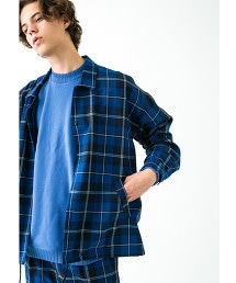 <monkey time>  NAVY CHECK COACH SHIRT