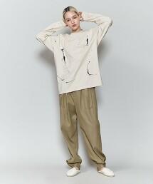 <6(ROKU)>∴DRIPPING LONG SLEEVE PULLOVER/T恤 Ψ 日本製