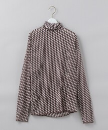 <6(ROKU)>BLOCK PRINT TURTLE NECK PULLOVER/高領T恤 日本製