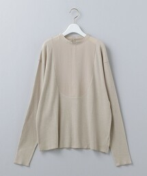 <6(ROKU)>RIB×SILK DRESS SHIRT PULLOVER/上衣 日本製