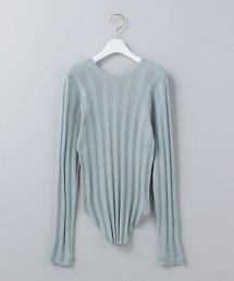 <6(ROKU)>COTTON CASHMERE RANDOM RIB LONG SLEEVE KNIT/ニット