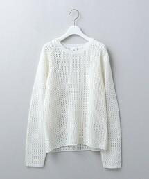 <6(ROKU)>MESH LONG SLEEVE KNIT/針織衫 日本製
