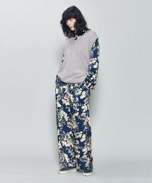 <6(ROKU)>SATIN FLOWER PRINT PANTS/印花褲 日本製