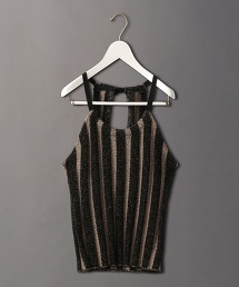 <6(ROKU)>STRIPE HALTER NECK KNIT/針織上衣