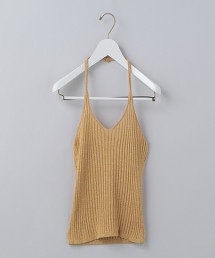 <6(ROKU)>RIB HALTER NECK KNIT/吊帶背心