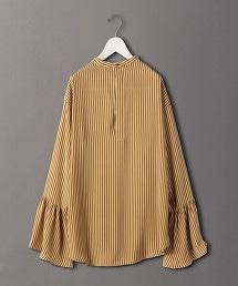<6(ROKU)>STRIP FLARE SLEEVE BLOUSE/罩衫: