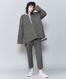 <6(ROKU)>BATTIK MOTIF NO COLLAR SHIRT/襯衫 日本製